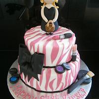 Makeup themed 21st birthday zebra  cake