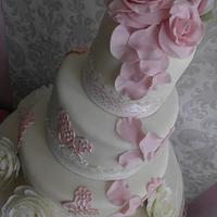 Tumbling rose petals, ivory and and soft pink lace with rosepetals