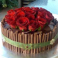 Chocolate and red roses by Jo