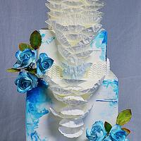 BLUE WEDD CAKE by crin.sugarart