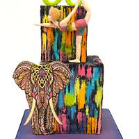 Full of colors cubes cake