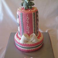 Elephant Themed Baby Shower Cake by sweetpeacakemom