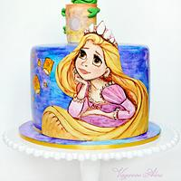 cake with Rapunzel and Pascal