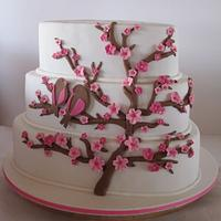 3 tiered Cherry Blossom Wedding Cake