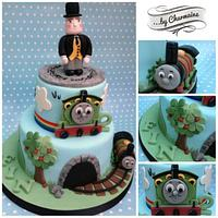 Percy Engine two tiered cake