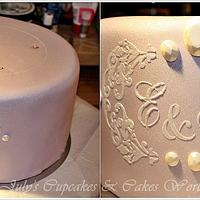 Romantic Wedding Cake with Cameo and Moth Orchid by Julycupcake