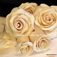 Golden Wedding Cake  by Celebration Cakes by Cathy Hill