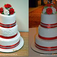 Red and white roses wedding / anniversary cake by FLOC