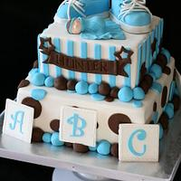 Blue Brown and White Baby Shower Cake