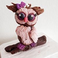 Owl made of homemade plastic chocolates