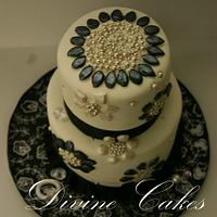 A 2 Tier Black andwhite Bejewled Cake.. by Divine Cakes