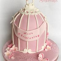 Pretty in Pink Vintage Birdcage Christening Cake
