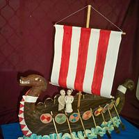 viking dragon boat wedding cake