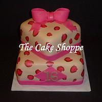 cheetah print sweet 16 cake