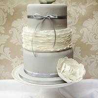 Grey and White wedding cake with sugar peonies