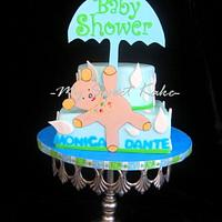 Umbrella Bear Baby Shower Cake