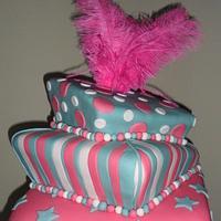 Aqua and Fuschia Wonky Cake