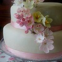 Marzipan Cake with cherry blossom flowers