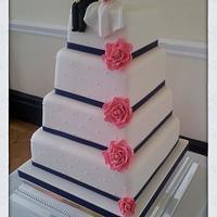 Bride & Groom topped wedding cake