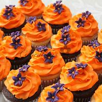 Orange and Purple Cupcakes