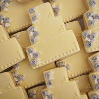 Yellow & Gray Wedding Cake Cookies!