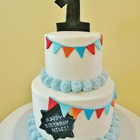 Bunting Flag First Birthday Cake