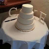4 Tier Ivory Lace and Gold Wedding Cake