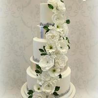 White floral cascade wedding cake