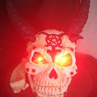 Skull cake with Horns and red led eyes!