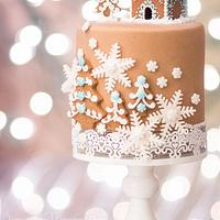 Gingerbread Rolled Fondant Cake by With Love & Confection