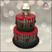 Ombré Skull Drip Cake