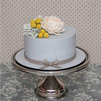 Gray & Yellow Engagement Cake
