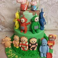 peppa pig, teletubbies and in the night garden cake