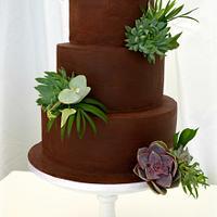 Succulent & Foliage wedding cake