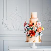 Watercolor Floral Wedding Cake