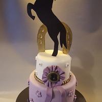 purple horse themed cake