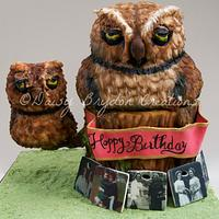 Owl cake with baby owl