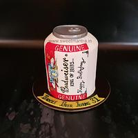 Budweiser beer can theme shaped designer fondant 3D cake for husband's birthday