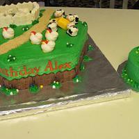 Farm Animal Birthday Cake with Smash Cake