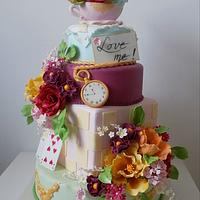 Wedding cake on Alice in Wonderland