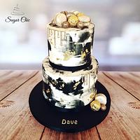 x Black & Gold Buttercream Drip Cake x