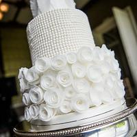 White wedding Cake with Rolled Roses