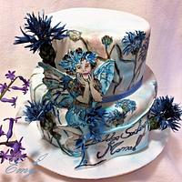 Cornflower cake with fairy
