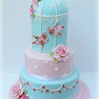 Vintage Cath Kidston Inspired Birdcage Wedding Cake