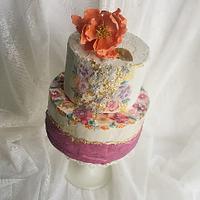 Handpainted Floral Cake