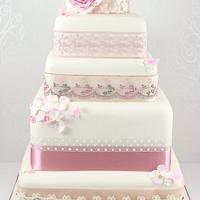 Rose and Hydrangea vintage style wedding cake