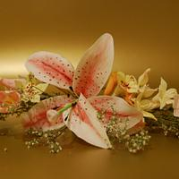 Lily and fantasy flower spray