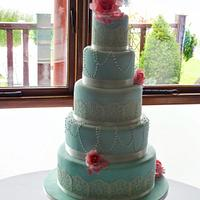 Pearl and doily wedding cake