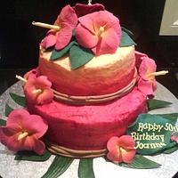 Tropical hibiscus cake