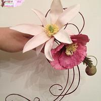Magnolia with foliage and poppy